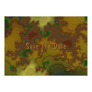 迷彩柄のフラクタルの保存日付 カード