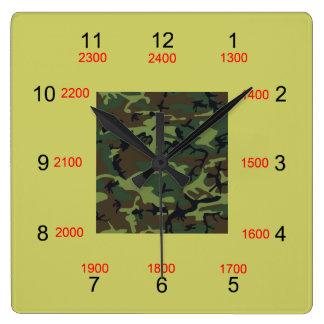 迷彩柄の中心の軍の時間柱時計 スクエア壁時計