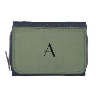 迷彩柄の緑色のデニムの財布w/Blackのモノグラム