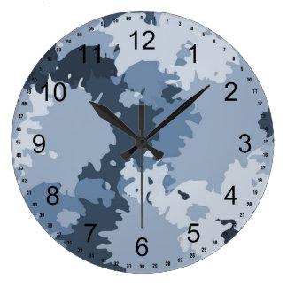 迷彩柄の青 ラージ壁時計