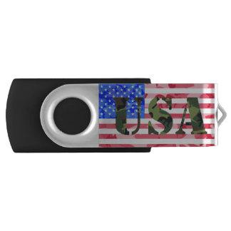 迷彩柄米国および旗 USBフラッシュドライブ