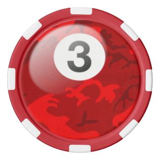迷彩柄3の球のビリヤードのポーカー用のチップ ポーカーチップセット