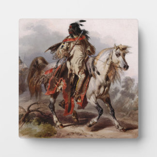 追跡されているアラビアの馬のブラックフットのインディアン フォトプラーク