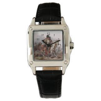 追跡されているアラビアの馬のブラックフットのインディアン 腕時計