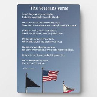 退役軍人の詩のプラク フォトプラーク