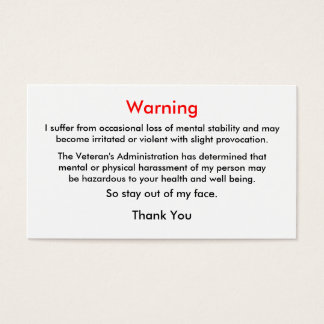 退役軍人の警告のテレホンカード 名刺