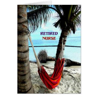 退職したなナース-ビーチのハンモック グリーティングカード