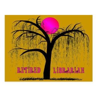 退職したな司書のギフトのシダレヤナギのデザイン ポストカード