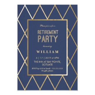 退職のパーティの招待状-エレガントな金ゴールドトレンディー カード