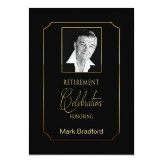 退職の招待状-写真の挿入物-黒か金ゴールド カード