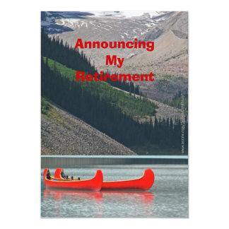 退職の発表、山のカヌー 12.7 X 17.8 インビテーションカード