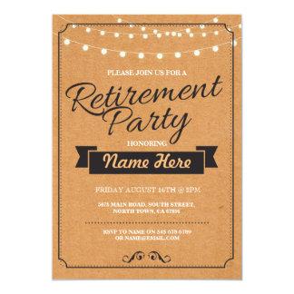退職パーティの素朴で退職したなペーパースタンプの招待 カード