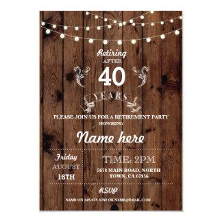 退職パーティの素朴で退職したな木製の応援の招待 カード