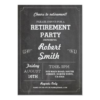 退職パーティの素朴で退職したな黒板の招待 カード