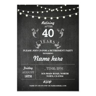 退職パーティの素朴で退職したな黒板の招待 12.7 X 17.8 インビテーションカード