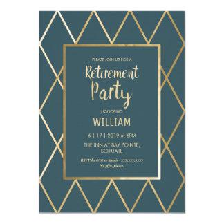 退職パーティーの招待-エレガントな金ゴールドシンプル カード