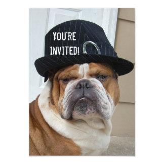 退職パーティーの英国のブルドッグの招待状 カード