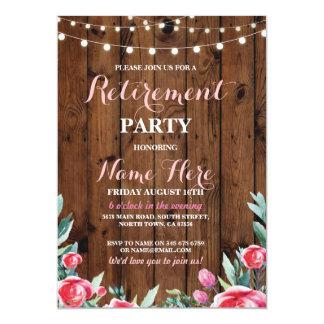退職パーティーの赤いピンクの花の木製の招待 12.7 X 17.8 インビテーションカード