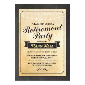 退職パーティ素朴で退職したなライト招待状 カード