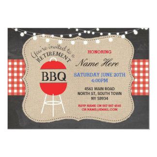 退職BBQの点検のチョークのバーラップの赤の招待状 カード