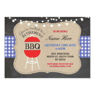 退職BBQの点検のチョークのバーラップの青の招待状 カード