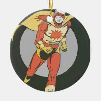 送風記号のランニングを用いるスーパーヒーロー セラミックオーナメント