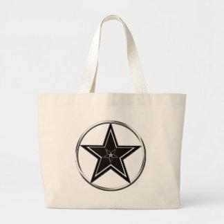 逆にされた五芒星の黒い及び銀製の星形五角形 ラージトートバッグ
