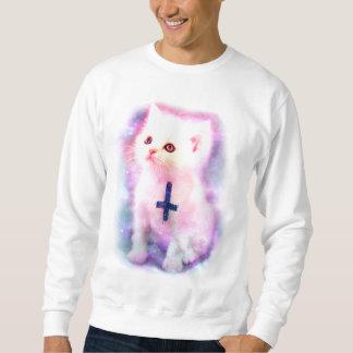 逆にされた十字の子ネコのスエットシャツ スウェットシャツ