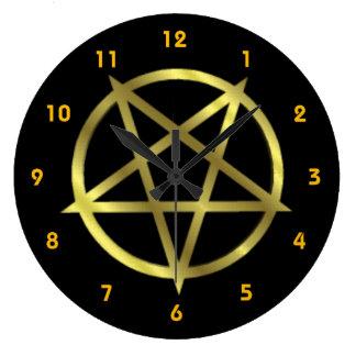逆にされた金ゴールドの五芒星 ラージ壁時計