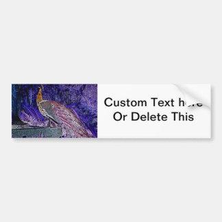 逆紫色の孔雀のスケッチ バンパーステッカー