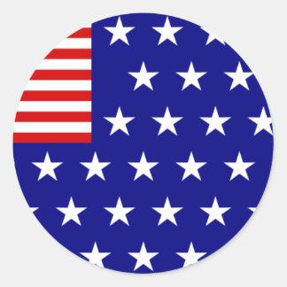 逆色の米国旗 丸型シール