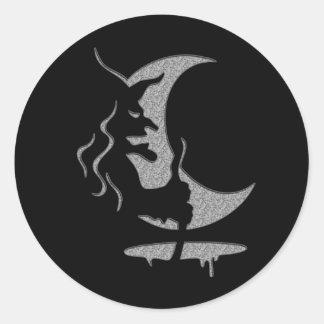 """逆転の芸術""""邪悪な魔法使い""""の-灰色/黒い点II ラウンドシール"""