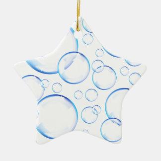 透明で青い石鹸の泡 セラミックオーナメント