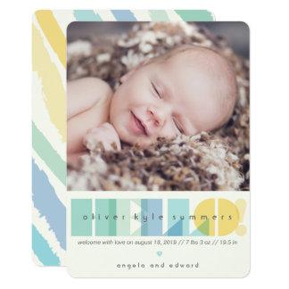 透明な青のこんにちは写真の誕生の発表 カード
