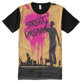 通りによっては落書きの芸術が夢を見ます オールオーバープリントT シャツ