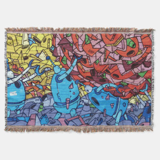 通りの芸術の落書きの壁のカラフルなロボット毛布 スローブランケット