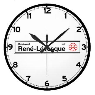 通りルネLevesqueのモントリオールの道路標識 ラージ壁時計