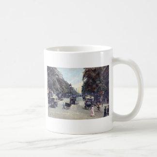 通り場面、パリ、フランスc1915のヴィンテージ コーヒーマグカップ