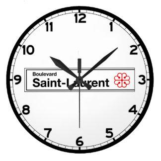 通り聖者ローレントのモントリオールの道路標識 ラージ壁時計