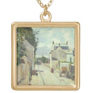 通りde l'Ermitage、Pontoise 1874年(キャンバスの油) ゴールドプレートネックレス