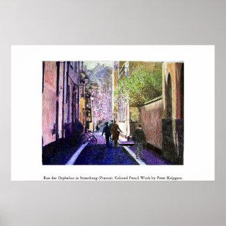 通りdes Orphelins、ストラスブール(フランス) ポスター
