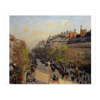 通りMontmartreのカミーユ・ピサロ著日没 ポストカード