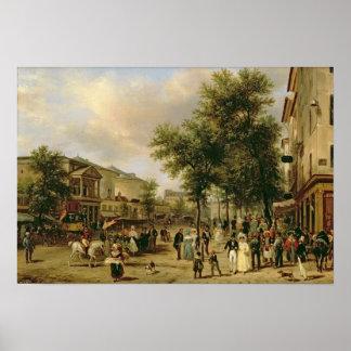 通りMontmartre、パリ1830年の眺め ポスター