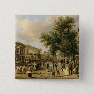 通りMontmartre、パリ1830年の眺め 5.1cm 正方形バッジ