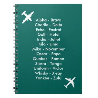 通話表の飛行機の青空気士官候補生のノート ノートブック