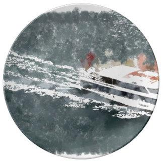 速いボートで楽しむこと 磁器プレート