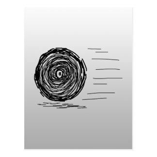 速い。 突進。 灰色の黒の記号 ポストカード