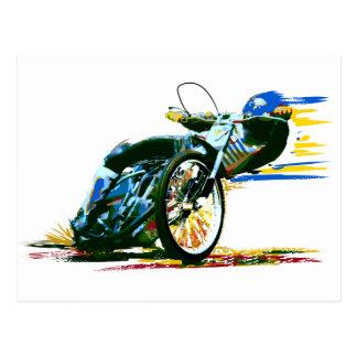 速く素晴らしい高速自動車道路のオートバイ ポストカード