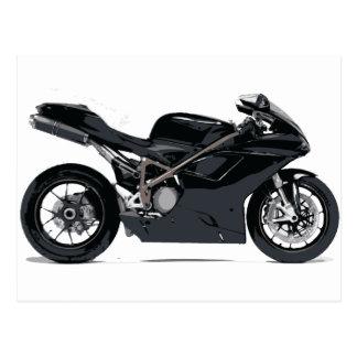 速く黒いオートバイ ポストカード