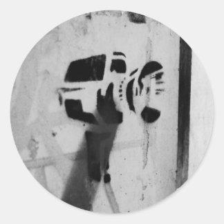 速度のガンカメラのステンシル落書きの芸術のステッカー ラウンドシール
